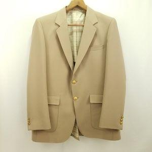 Vtg Sears Perma Prest Beige Suit Jacket 42L